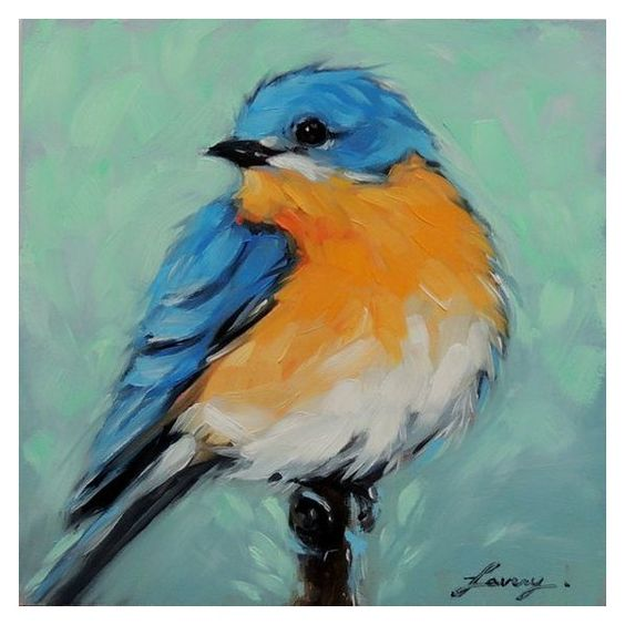 "Bluebird 5X5"" inch original oil painting of a Bluebird ❤ liked on Polyvore featuring home, home decor, wall art, wood wall art, photo painting, wood painting, wood home decor and wooden wall art"