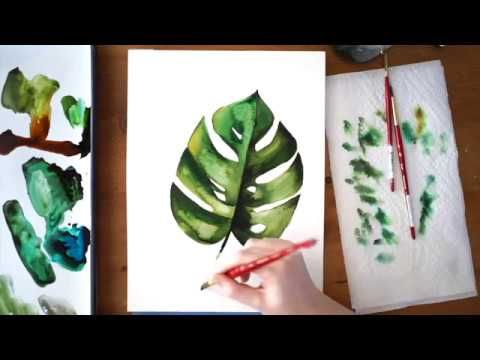 Monstera Leaf Time Lapse Watercolor Tutorial Let S Make Art