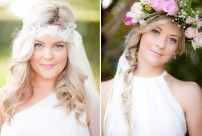 I love these looks - the flower head band and the natural long hair
