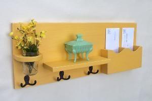 Mail holder, coat/key hooks, mini-shelf, and jar vase...what more could you want?