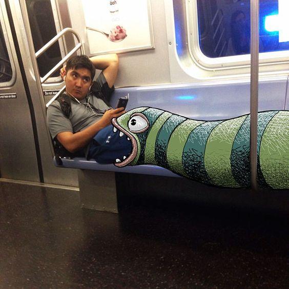 #doodle #metrô #monstros #desenhos #personagens #nyc #subway #cômico