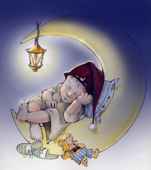 Bedtime on the moon... (night, nighttime, sun, moon, stars, art, illustration)