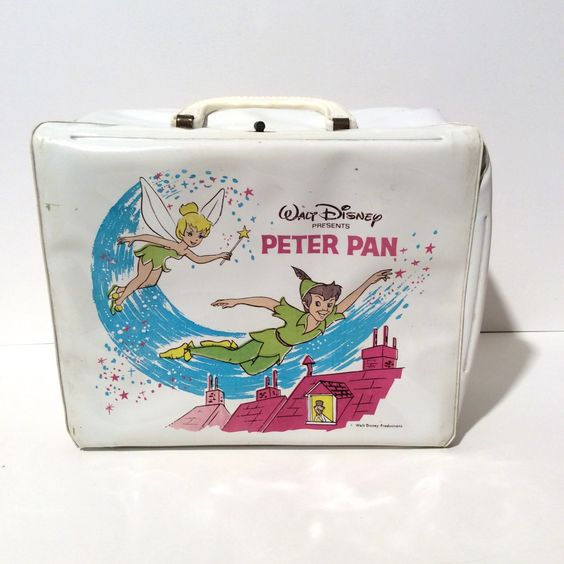 Vintage 1968 Peter Pan Lunch Box by Aladdin, Super Clean, No Thermos but lots of Tinkerbell Pixie Dust by LOVELADYBIRDVINTAGE on Etsy