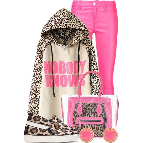Leopard Print, But Pink (1) by queenrachietemplateaddict on Polyvore featuring polyvore, fashion, style, J Brand, Stuart Weitzman, POMIKAKI, Marc by Marc Jacobs, Pink, LeopardPrint and coloredpants