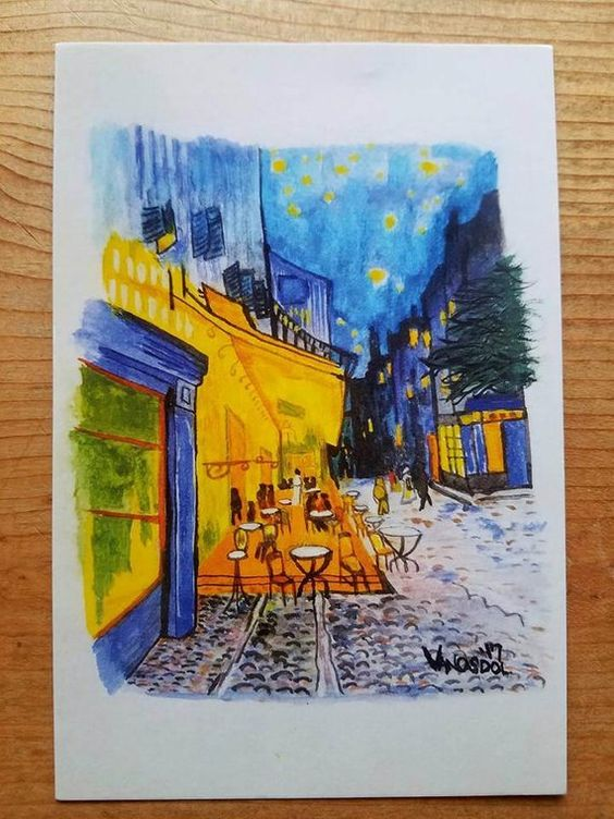 Cafe Terrace At Night Vincent Van Gogh 4x6 Postcard Watercolor