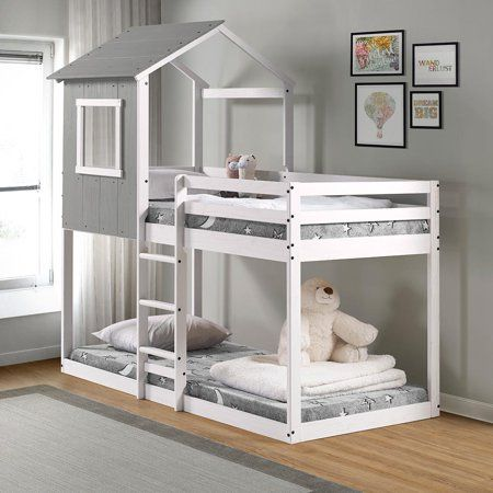 Tree Bunk Bed Rustic Dark Gray W White Frame Walmart Com House Beds For Kids Bed For Girls Room Toddler House Bed