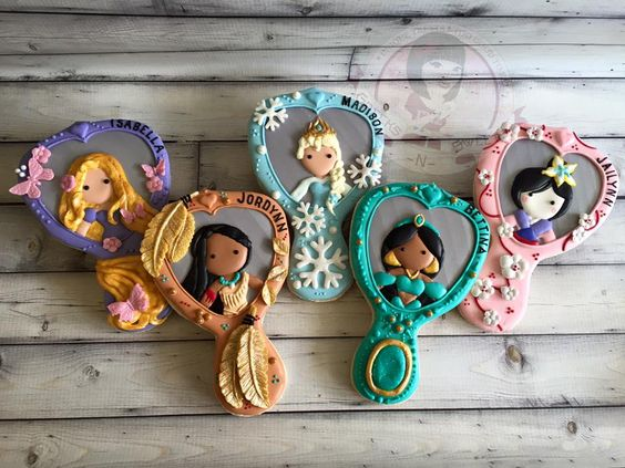 Greeks N Sweets - Disney Princess designed hand mirror cookies