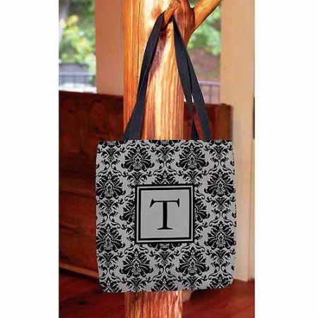Thumbprintz - Damask Monogram Tote Bag, Women's, Size: 13 inch x 13 inch, Black