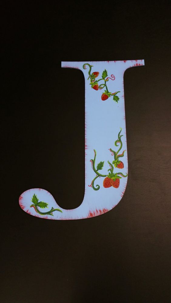 Strawberry Vine Handpainted Letter, Initial, Roman block font, Door hanger, Wall hanging, Gift by EngraversMark on Etsy