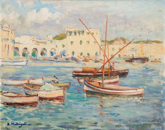 Peinture Port d'Alger - L'Amirauté von Olynthe Madrigali