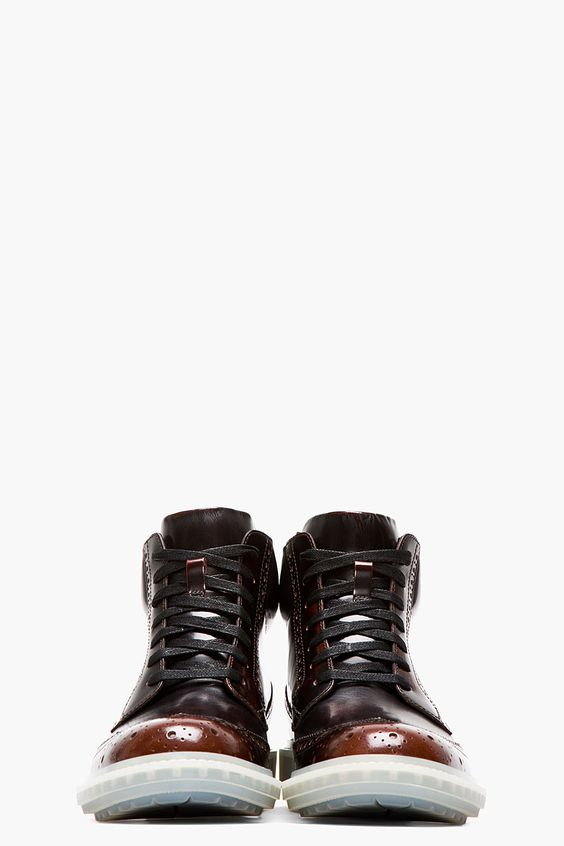 ALEJANDRO INGELMO Burgundy Ombre Leather Wooster Wingtip Brogue Boots