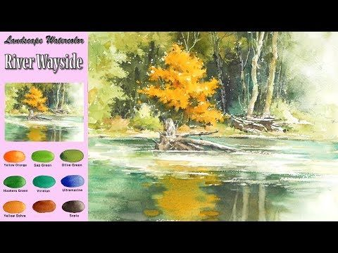 Landscape Watercolor River Wayside Sketch Coloring Arches