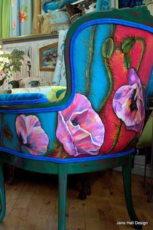 ---wow---Functional art!  Painted on the back.... fabric on front is from Designer's guild: