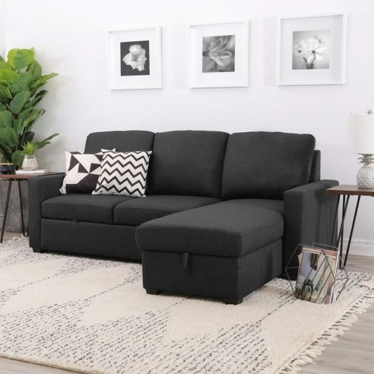 Multi Functional Adjusts To Different Positions For Maximum Comfort Hidden Storage Underneath Chaise Black Living Room Abbyson Living Sectional Sleeper Sofa