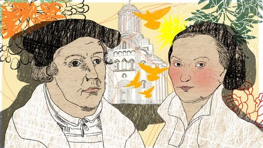 Illustration Kalenderblatt: Martin Luther heiratet Katharina von Bora | Bild: BR/ Angela Smets: