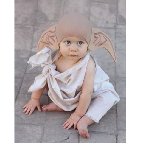 Master has presented Dobby with a sock -- Dobby is free!  _____________________ #baby #babytips #momlife #moms #babies #parenting #nursingpillow #babyproducts #babystuff #harrypotter #dobby #harrypottercostumes #babycostumes #costumes #funnycostumes