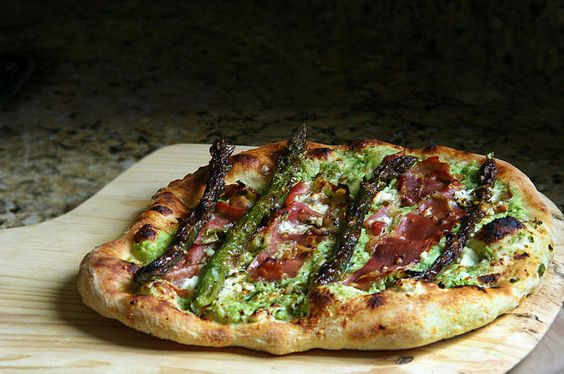 whole proscuitto asparagus pizza with ricotta