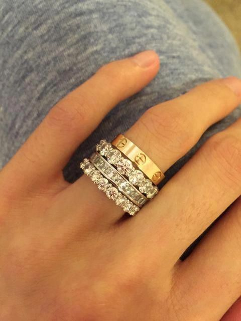 Image Result For Cartier Love Ring Stack Diamondrings Stackingrings Cartier Love Ring Vintage Gold Engagement Rings 14k Engagement Ring