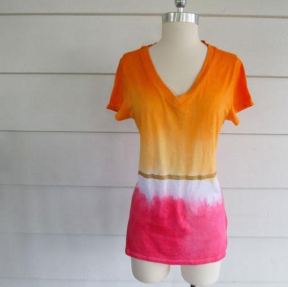 DIY Clothes DIY Refashion: DIY: Color Blocked, Tie Dye T-Shirt.