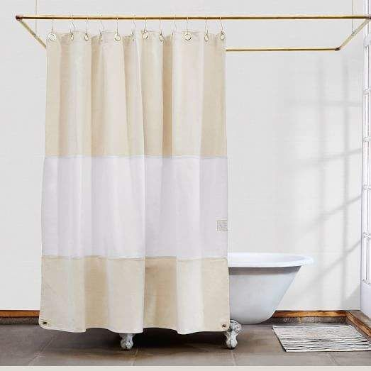 West Elm Quiet Town Home Lido Shower Curtain Sand In 2019 Curtains Shower Canvas Curtains