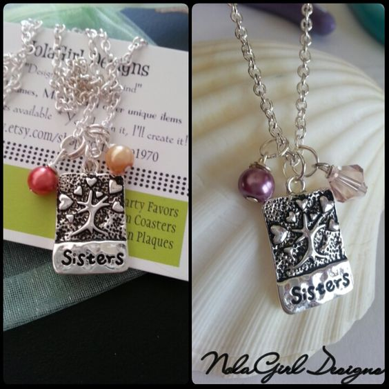 Sisters, BFF's or Soul Sisters, Sister from another Mister .... Whatever y'all call it, It's all about love and sisterhood! You don't have to be blood to be sisters. This Necklace celebrates those tight relationships that make us all so happy! 1 inch silver plated charm has a tree with hearts above the word sisters. I will add two beads in choice of color (Please note the colors when ordering) The Chain is 24 inches long. if you need it shorter please leave me a note when you place your…