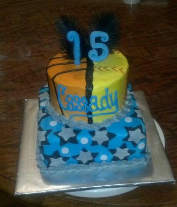 Basketball Softball Cake My Cakes Pinterest Cakes