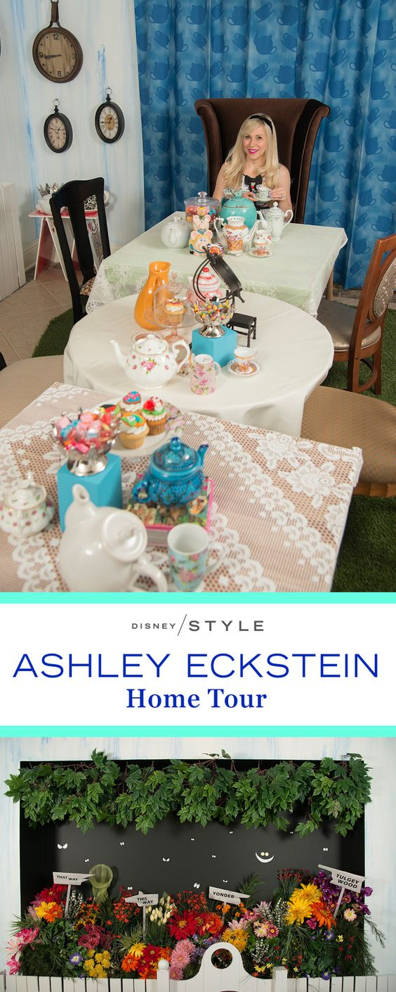 Ashley Eckstein transformed her dining room into Wonderland. From teacups and a golden afternoon accent wall to mix-and-match details, take a look at her Alice in Wonderland inspired home. | Ashley Eckstein Alice in Wonderland Home Tour