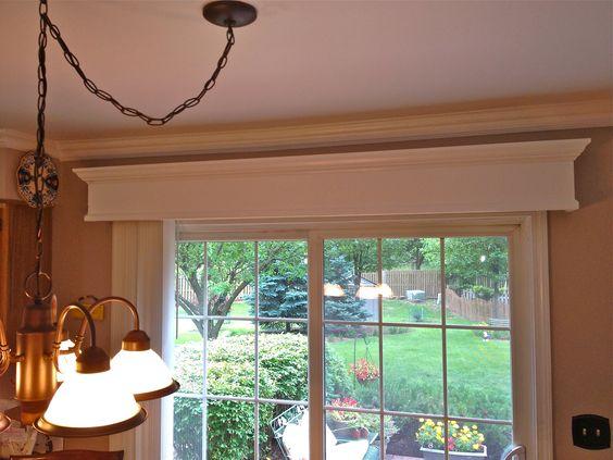 Wooden valance with vertical blinds for patio door home for Wooden patio doors