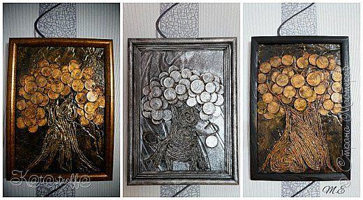 Поделка изделие День рождения Денежные панно Клей Краска Монета фото 1