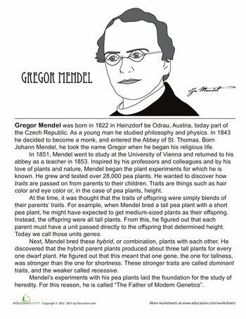 Who Is Gregor Mendel? | Worksheets, Reading Comprehension ...