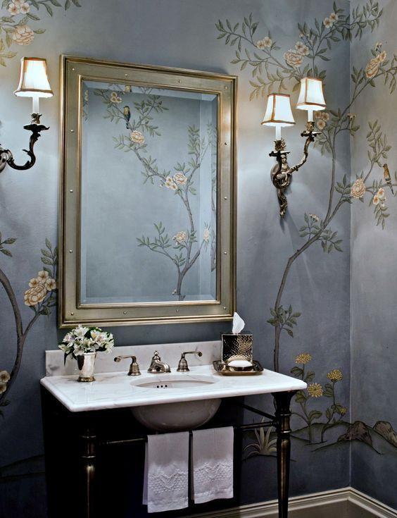 30 Bathrooms With Brightly Colored Wallpapers Remodelacion De