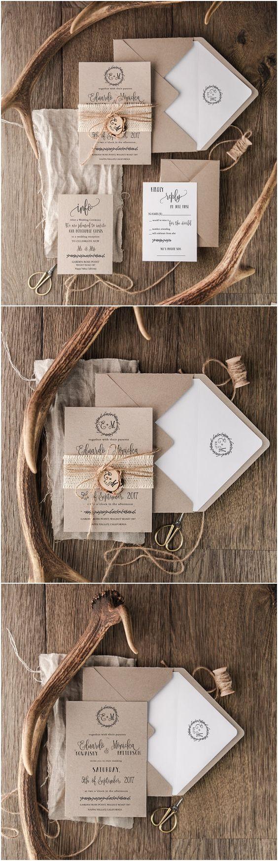 Craft Wedding Invitation Suite, Burlap Wedding Invitation, Wooden Slice Invitations, Monogram Invites