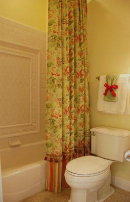 How to make custom shower curtains and liners, with other related blog entries. Needed for the stall shower that doesn't fit any standard size! From Addicted 2 Decorating.