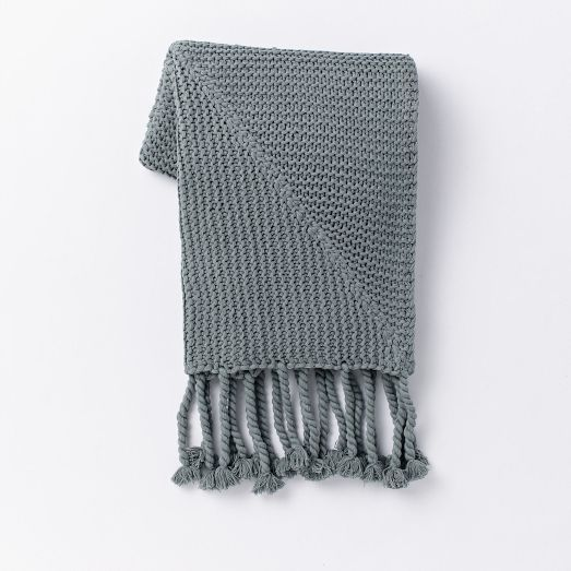 Chunky Tassel Throw, blue fin | west elm