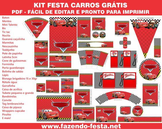 Kit Gratuito Festa Carros completo! Pronto para editar e imprimir