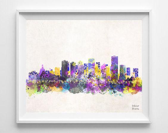 edmonton skyline print alberta poster canada watercolor bedroom cityscape