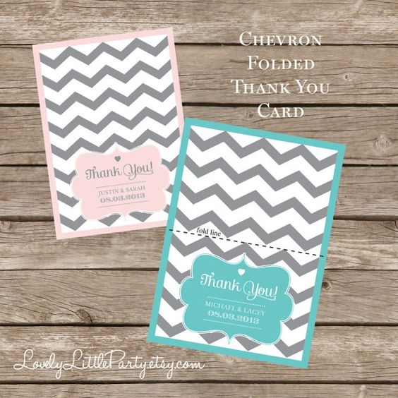 Printable Chevron Wedding THANK YOU card   by lovelylittleparty, $10.00
