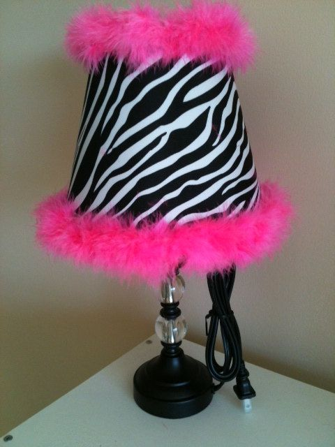 NEW Zebra Stripe and Hot Pink Boa Girls Bedroom Lamp Shade