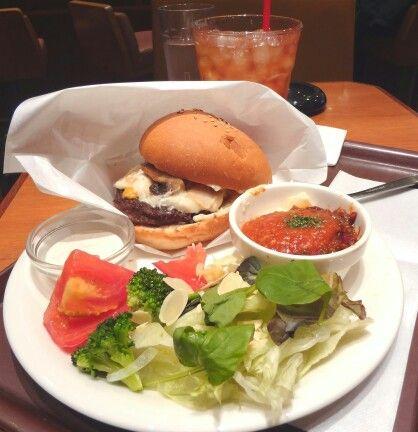 hamburger and salad plate
