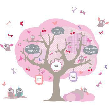 Sticker arbre g n alogique rose arbre g n alogique mason - Arbre genealogique stickers ...