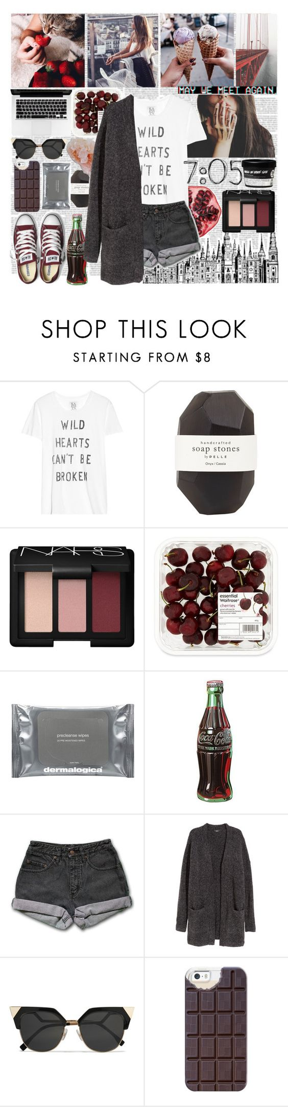 """We Both Can't Take A Compliment"" by nsrogsy3 ❤ liked on Polyvore featuring Zoe Karssen, Pelle, NARS Cosmetics, Dermalogica, Retrò, PèPè, H&M, Fendi, Casetify and Converse"