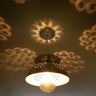 Colander Lamp, the reflections are awesome. Wow - what a good idea!