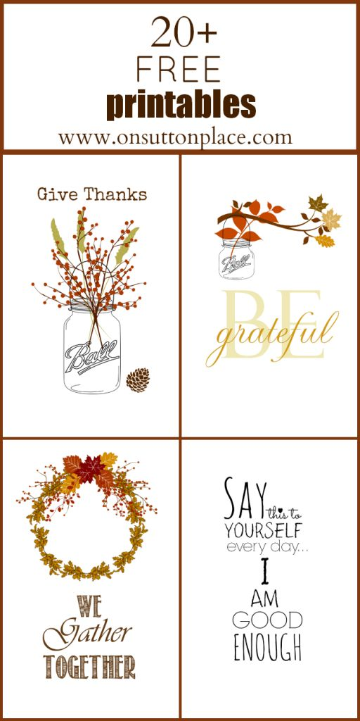 Just For Fun Worksheets : Free printables thanksgiving beautiful jars and