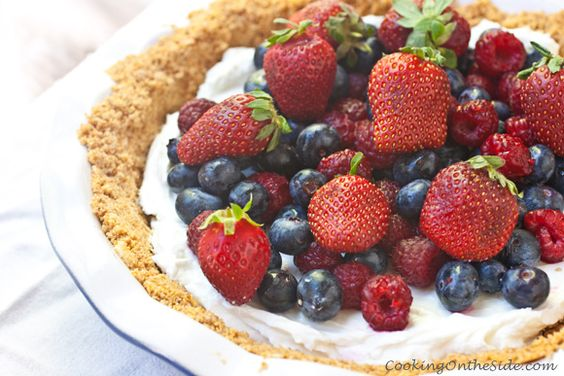 Yogurt Mixed Berry Pie (recipe from www.cookingontheside.com)