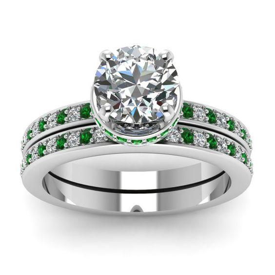 Round Diamond Engagement Emerald Wedding Ring set 1.20ct 18kt White ...