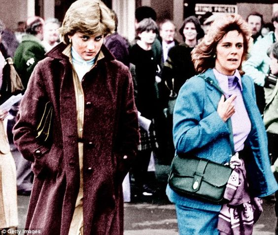 Lady Diana Spencer and Camilla Parker-Bowles at Ludlow Races where Prince Charles was competing, in 1980