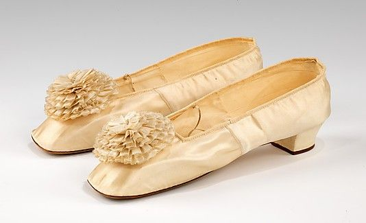Wedding Slippers, 1864, American, silk and leather