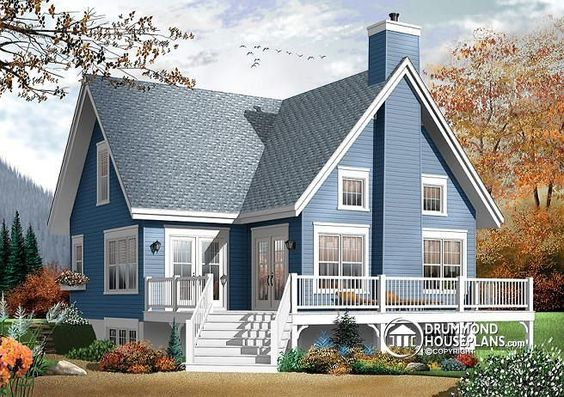 Mezzanine terrace and cottages on pinterest for 3 bedroom a frame house plans
