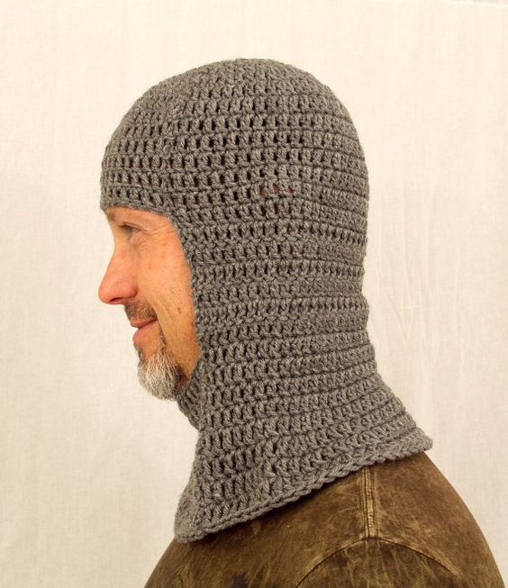 Knitted Chainmail Pattern : Medieval Knight Coif Hat, Crochet Grey Chain Mail, send size choice baby - ad...