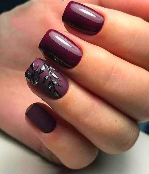 Short Coffin Nails In 2020 Fall Gel Nails Short Gel Nails Burgundy Nails